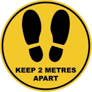Social Distancing Keep 2 Metres Apart Circular Floor Stickers 280mm - Pack of 12