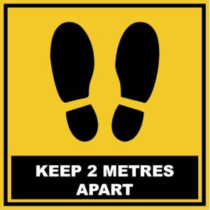 Social Distancing Keep 2 Metres Apart Square Floor Stickers 280mm x 280mm- Pack of 12